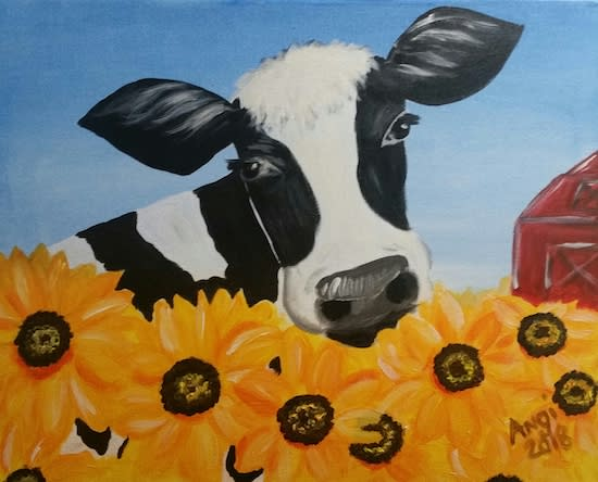 Cow and Sunflower – Paint and Sip