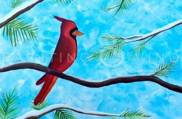 Fun afternoon with Paint and Vino to learn how to paint Winter Cardinal at Beachside Bar & Grill at the Pearl Resort, South Padre Island