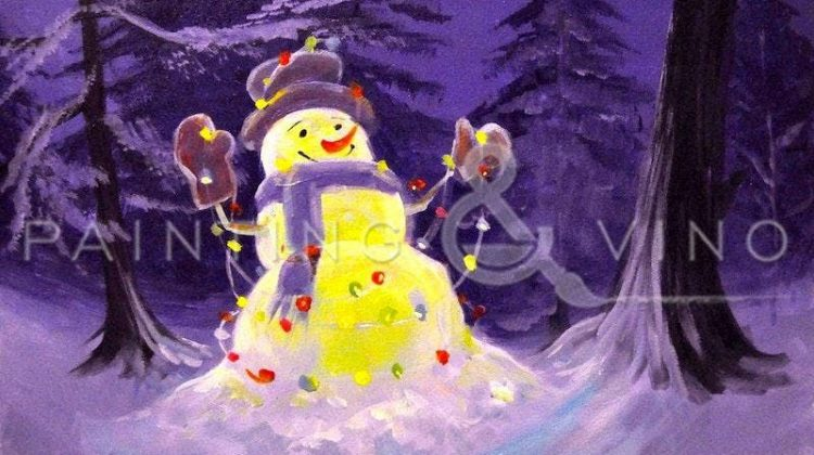 Get ready for he holiday with the fun paint and sip 'Lighted Snowman'