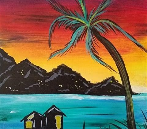 """Tropical Beach Painting Session - """"Escape to Tahiti"""""""