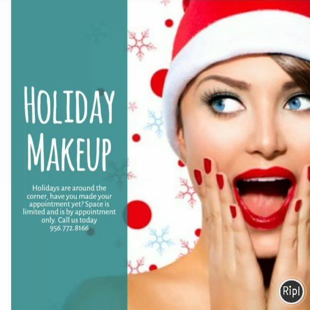 Call us for your Holiday Makeup by our Glam Squad 956.772.8166